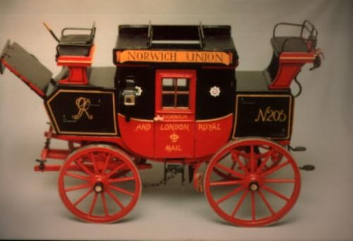 Norwich Union stage coach made by Thomas Delaney (My Grandad)