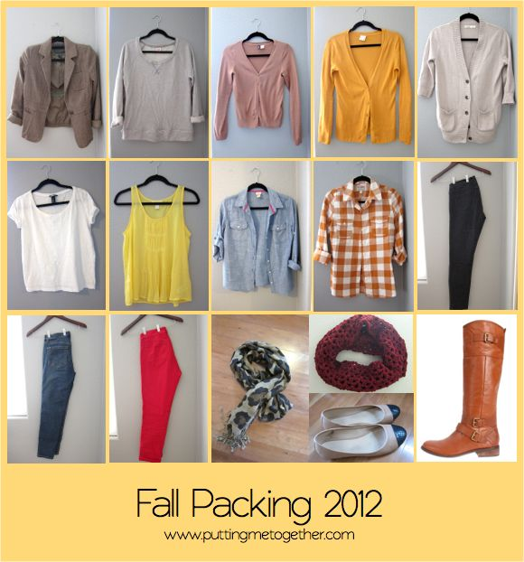 Fall Packing - 12 Pieces, 10 Outfits | swap in season appropriate clothes and this can translate to summer, spring or winter too.