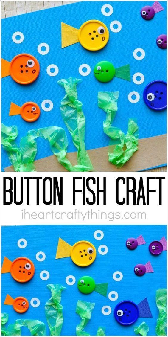 Dieser einfache Knopf Fisch Handwerk für Kinder macht eine perfekte