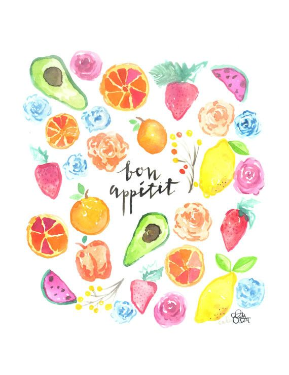Bon Appetit fruit + veggie watercolor print