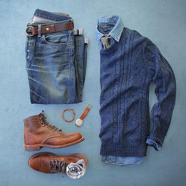 Outfit grid - Blue & brown