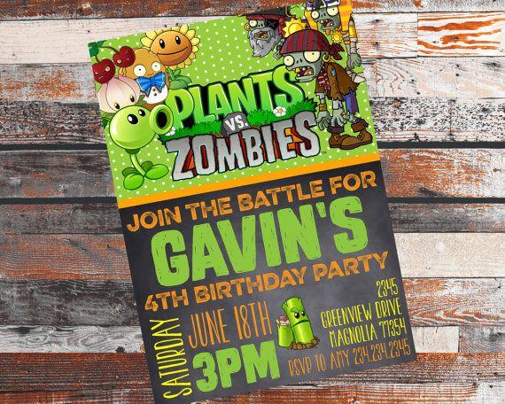 Plants VS. Zombies Invitation. Plants VS. Zombies Birthday party! Plants VS. Zombies.