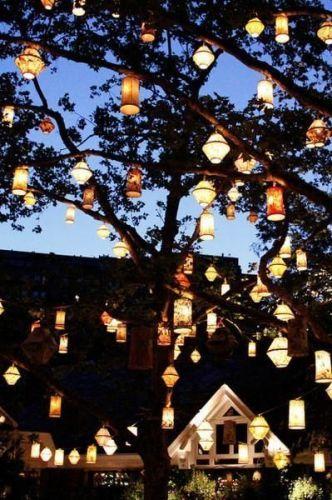bougies, décoration, éclairage, guinguette, guirlandes électriques, jardin, lampions: