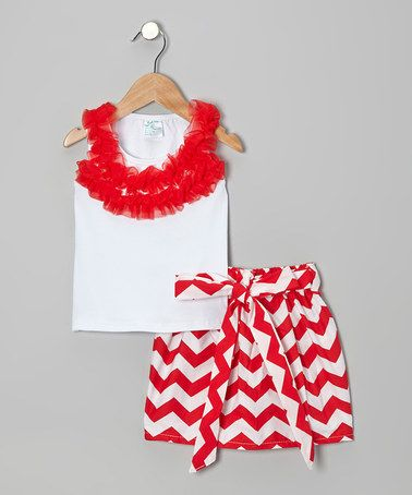 Take a look at this Red Ruffle Tank & Zigzag Skirt - Infant, Toddler & Girls by Tutus by Tutu AND Lulu on #zulily today!