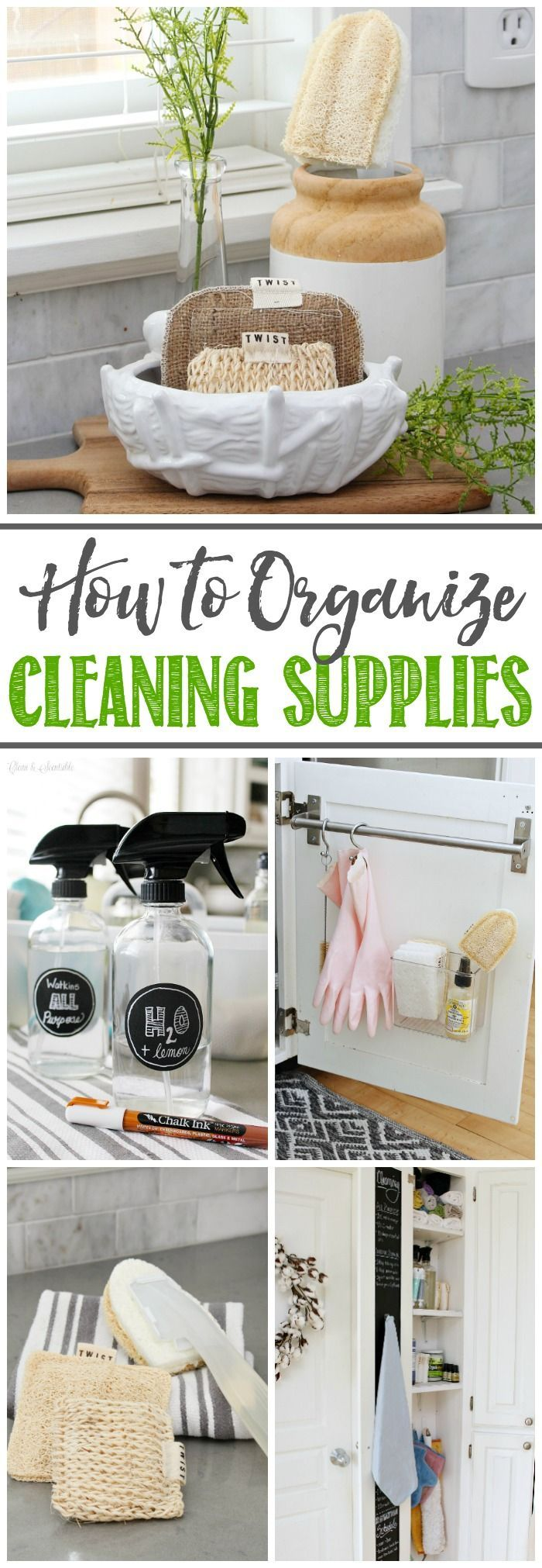 Great ideas for organizing cleaning supplies for quick and easy cleaning.