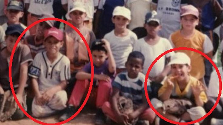 Aledmys Diaz (red hat) and Jose Fernandez (white hat) youth league photo.