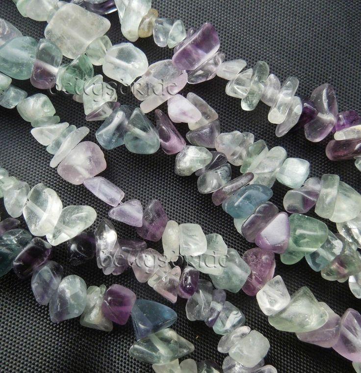 Mixed Fluorite Semi Precious Jewellery Making Gemstone Crystal Chip Beads 32in