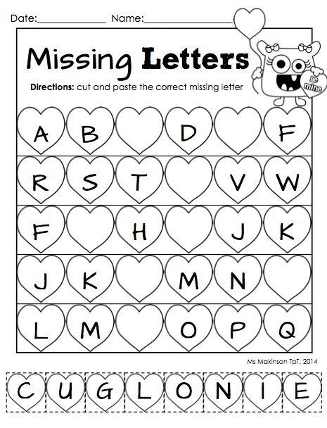 "February Printable Packet - Kindergarten Literacy and Math. Missing letter ""cut and paste"" worksheet for Valentine's Day. by BethenyAsher"
