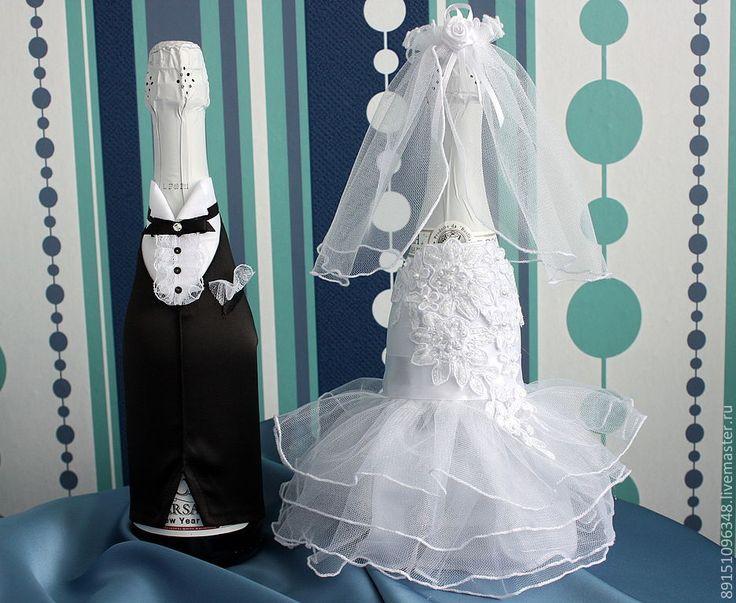 Купить Украшение для шампанского - свадьба, свадебные аксессуары, свадебные украшения, подарочное шампанское, свадебное шампанское