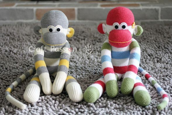 amigurumi sock monkey - How to sew a sock monkey! from CraftPassion.com