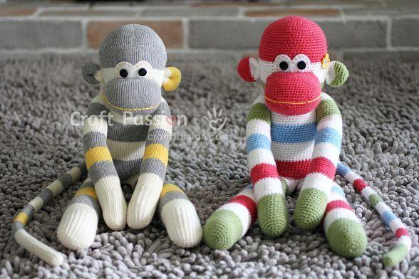 amigurumi sock monkey, #crochet, free pattern, English, #haken, gratis patroon (Engels), sok aapje, amigurumi, aap, knuffel