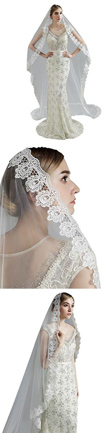 Anmor 1T Long Wedding Veils Tulle Lace Applique Bridal Veil Free Comb Ivory 11045