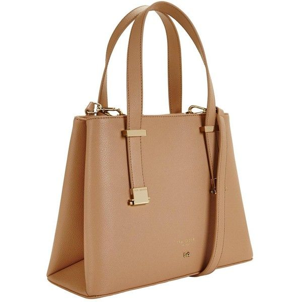 Ted Baker Ted Baker Double Pocket Small Handle Tote ($195) ❤ liked on Polyvore featuring bags, handbags, tote bags, beige tote bag, ted baker, handbag tote, tote purses and ted baker purse