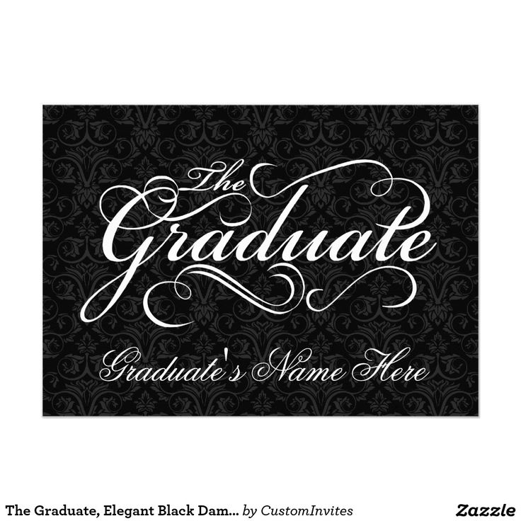 sample open house graduation party invitations%0A The Graduate  Elegant Black Damask Graduation     X     Invitation Card