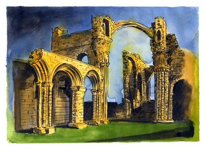 An Expressive Pen, Ink and Wash Drawing of Lindisfarne Priory