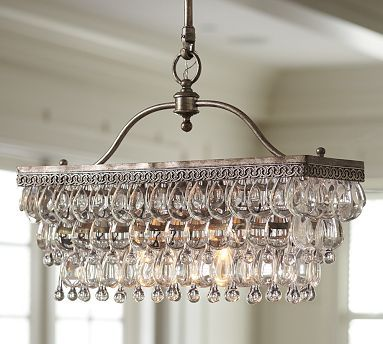 The shape is great   Clarissa Glass Drop Rectangular Chandelier
