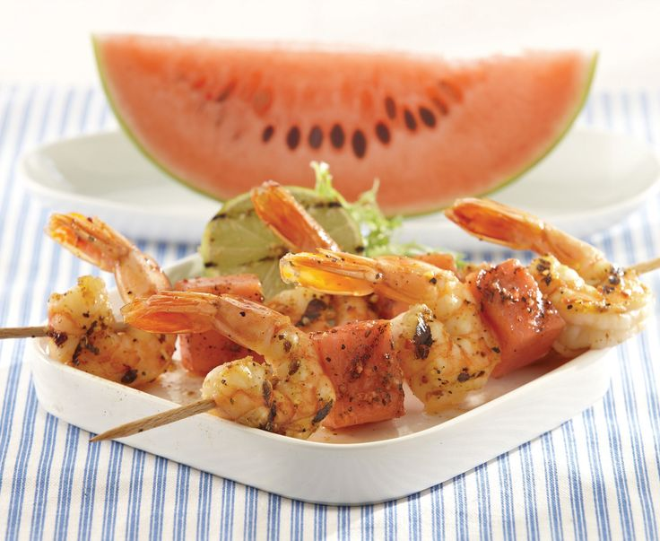Combine grilled watermelon and spicy shrimp for the ultimate kabob ...