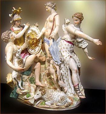 The Judgement of Paris, Capodimonte porcelain, Capitoline Museums, Rome