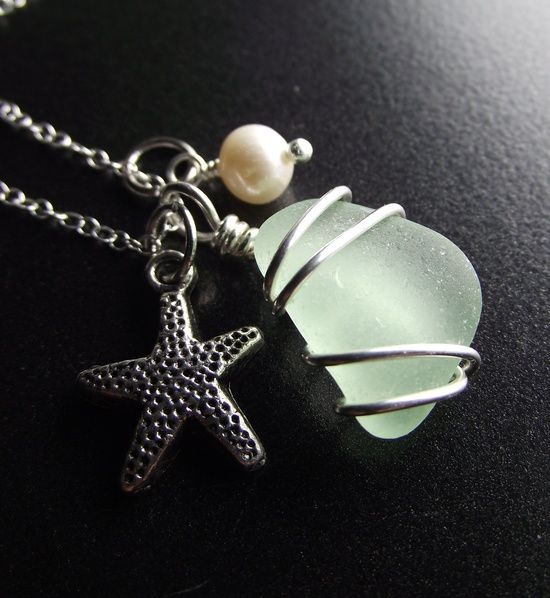 Sea Glass Jewelry  Aqua Sea Glass Cluster Necklace