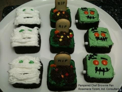 Halloween Brownies made with the Pampered Chef Brownie Pan with individual squares.