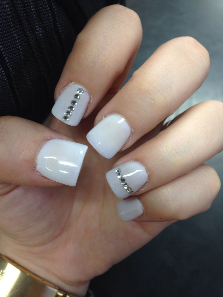 Nail Designs With Rhinestones White rhinestone nail ...
