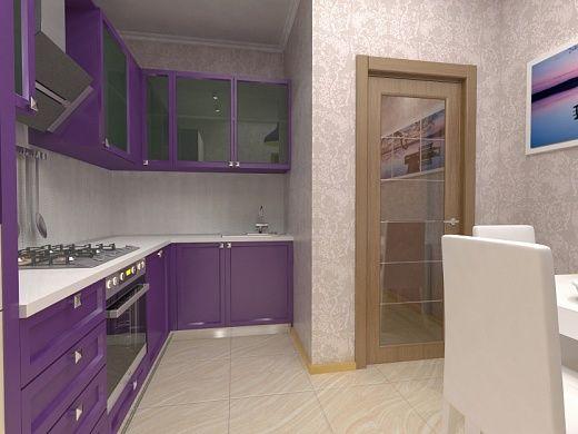 Кухня в квартире достойна особого внимания. Эта часть квартиры очень яркая и атмосферная. Необычное цветовое решение, а именно сиреневая мебель, в сочетании с интересным панно передают ауру неба во время рассвета. Функциональность – это главное, на что обращали внимание при планировке кухни, что немало важно при небольшой площади. Обеденная зона кухни контрастирует с большей частью кухонной мебели. Раскладывающийся обеденный стол и стулья белого цвета.