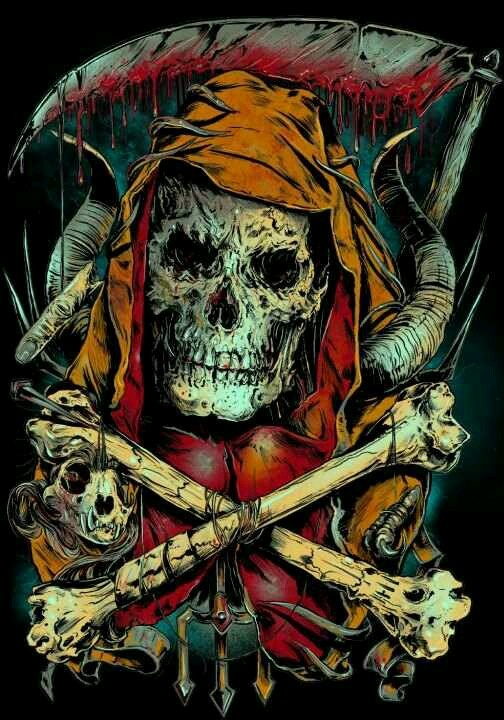 Dark evil skull grim reaper fantasy art | tattoo artwork ...
