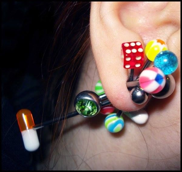 #ear #barbells #colorful #balls #dice #gem