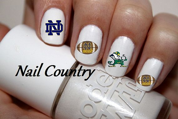 50pc Notre Dame Football Nail Decals Nail Art Nail Stickers Best Price On Etsy NC231 on Etsy, $3.99