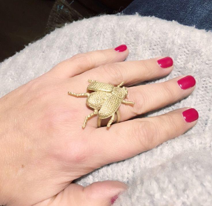 Anillo Escarabajo realizado en bronce con baño de oro vermeil 18k. Anillo ajustable. #Skarabäus #beetlering #Käfer ring #beetle