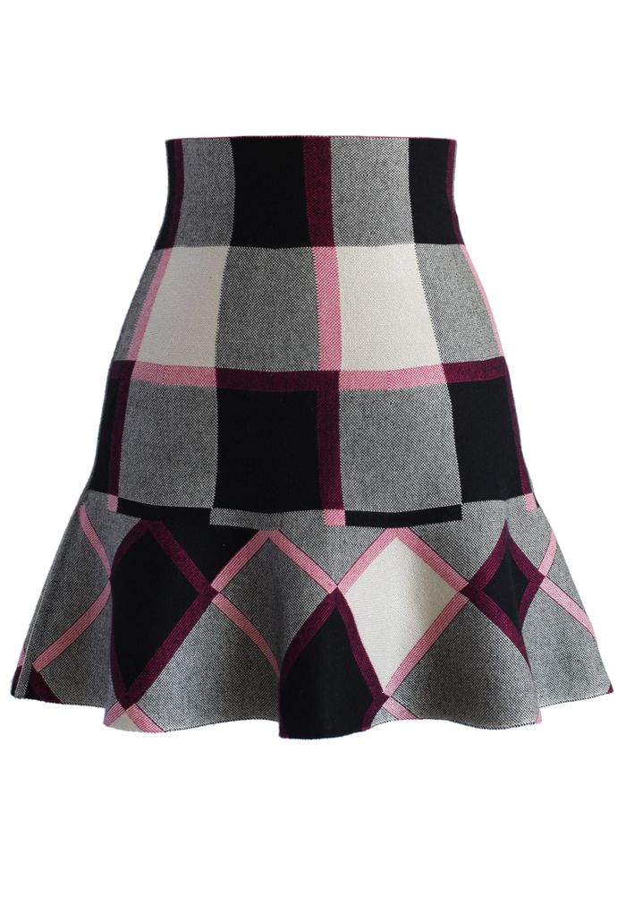 Purple Plaid Knitted Skater Skirt - Retro, Indie and Unique Fashion