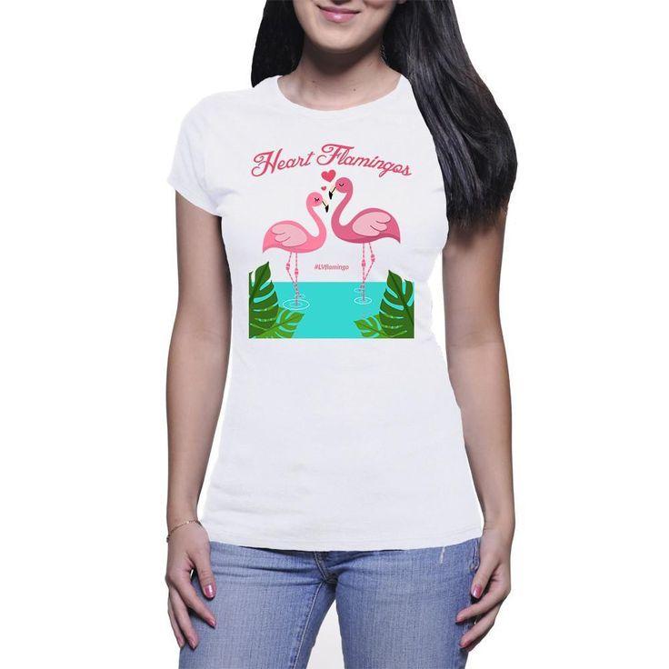 Women's Fine Jersey Short Sleeve Heart Flamingos T-Shirt