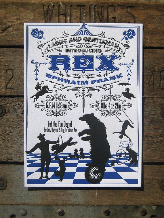 cutest circus themed letterpress birth announcements for a girl or boy!