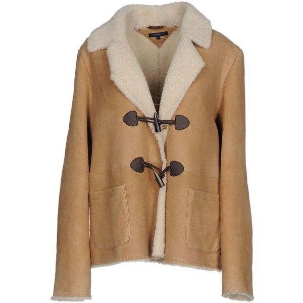 Tommy Hilfiger Jacket ($870) ❤ liked on Polyvore featuring outerwear, jackets, camel, multi pocket jacket, genuine leather jackets, collared leather jacket, camel jacket and brown leather jackets