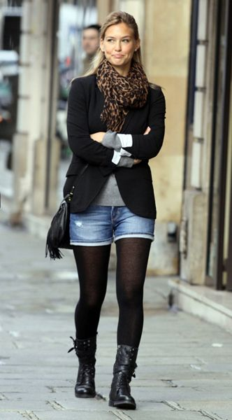 Surprisingly love this look... combat boots with shorts and leggings and a well-fitted jacket/blazer.
