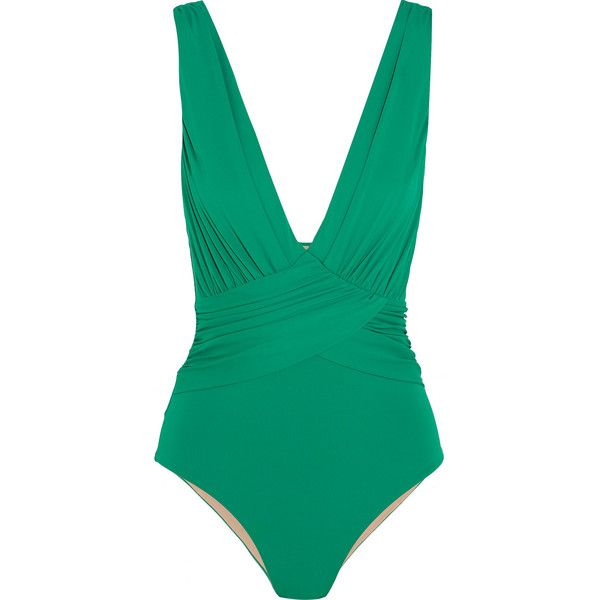 I.D. Sarrieri Deauville plunge swimsuit ($185) ❤ liked on Polyvore featuring swimwear, one-piece swimsuits, swimsuit, bathing suit, green, swim costume, green swimwear, swimming costume, bathing suit swimwear and plunge swimsuit