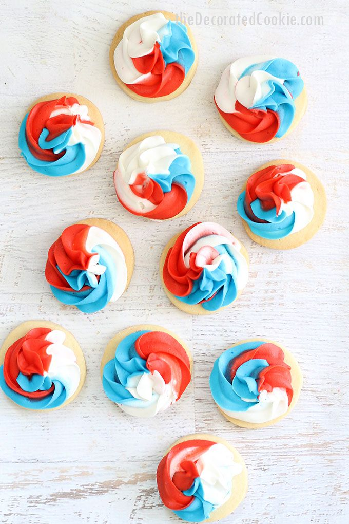 red, white, and blue swirl cookies — 4th of July cookies — decorating idea — use a 3-coupler swirl tip for easy cooki…