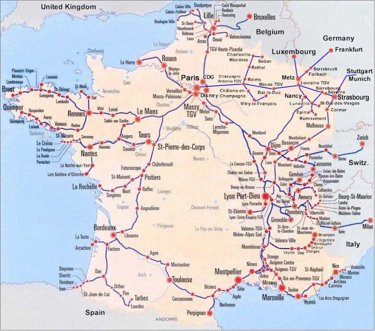 France Train Map of entire TGV high speed train system with all the TGV stations. Find France Train Schedules, maps, prices and securely book your train tickets and passes online at bonjourlafrance.com