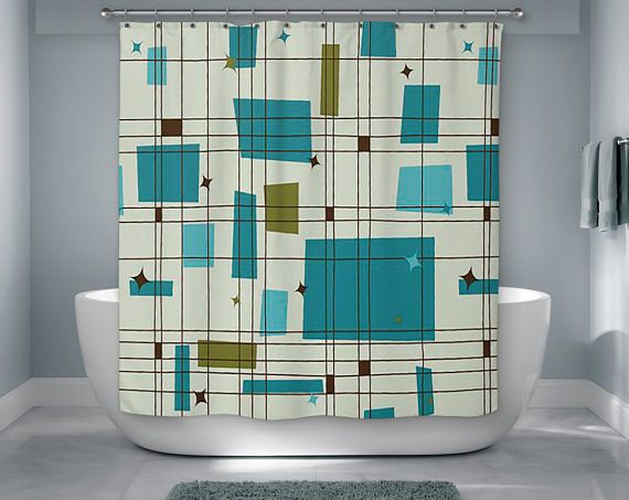 Mid Century Modern Shower Curtain Retro Bath Modern Bath Modern