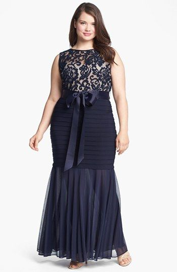 Betsy & Adam Lace Banded Mermaid Gown (Plus Size) | Nordstrom