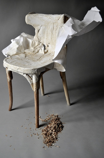 Discarded chair, scrap white photographic backdrop paper, flour and water. Experimenting with notions of perfection and the accidental. Karen Ryan