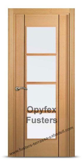 puerta de madera con cristales para interior maciza modelo terrassa precio uac incluye