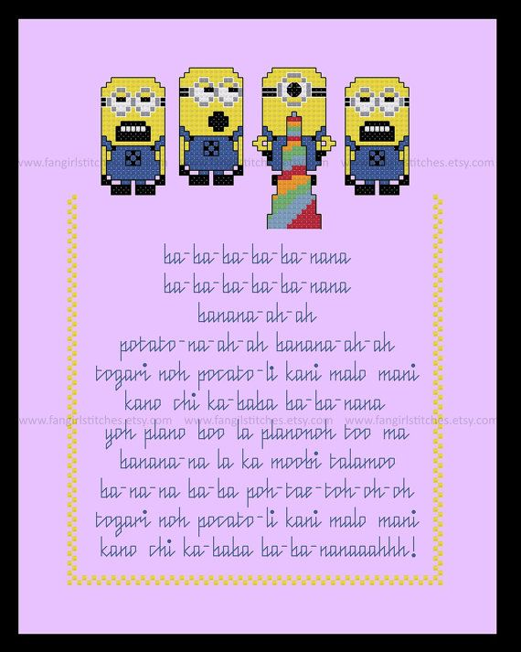 """""""Ba-Ba-Ba Ba-Ba Nana""""  Now you can learn the #lyrics for the Minion's #Banana #Song, as seen in teh Despicable Me 2 teaser trailer with your very own cross stitch picture.  Fa... #crossstitch #minion #gru #banana #cartoon #song #embroidery #quick #party #children"""