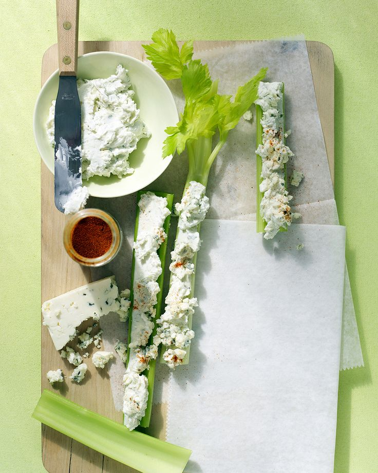 Buffalo-Style Celery Sticks | Martha Stewart Living - Consider the celery merely a vessel for the powerful flavor of this outrageous blue cheese, cream cheese, and cayenne pepper spread.