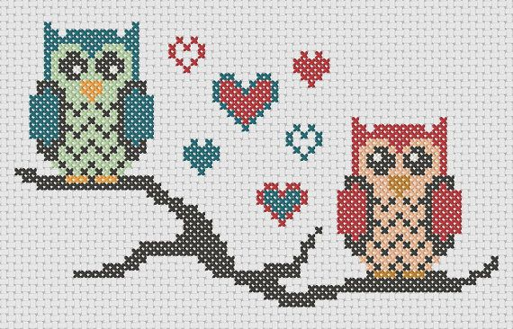 Owl cross stitch pattern: lovebird owls