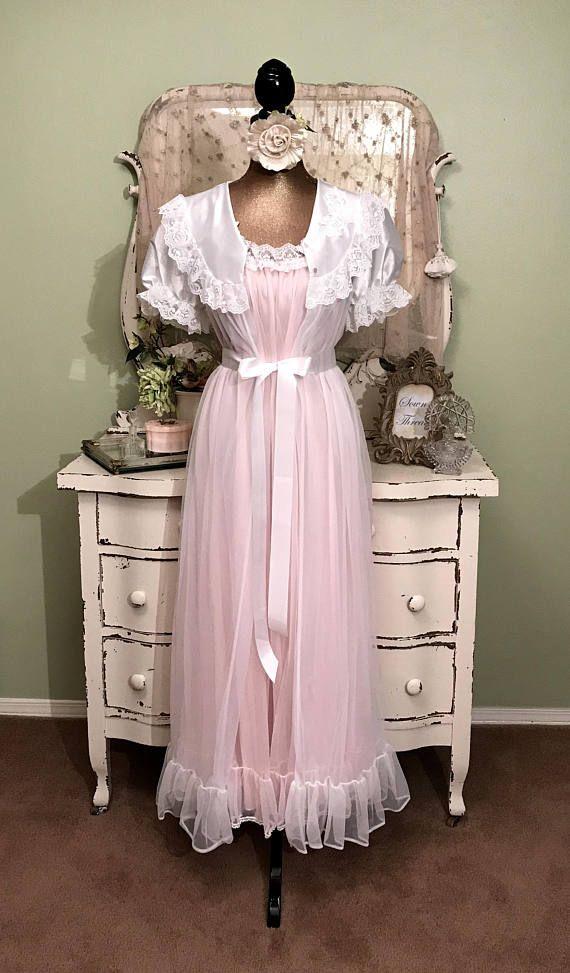 42f9fa5fa3e Long Pink   White Chiffon Fairy Nightgown Set w Ribbon Roses M-LM ...