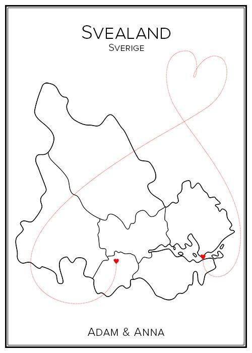 Kärlekskarta. Svealand. Landsdelar. Sveriges landsdelar. Map. City print. Print. Affisch. Tavla. Tryck. Stadskarta.