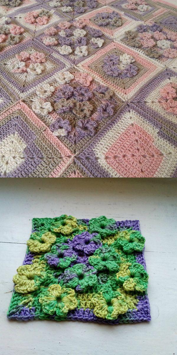 Meadow Of Flowers Blanket Free Crochet Pattern Blankets Free