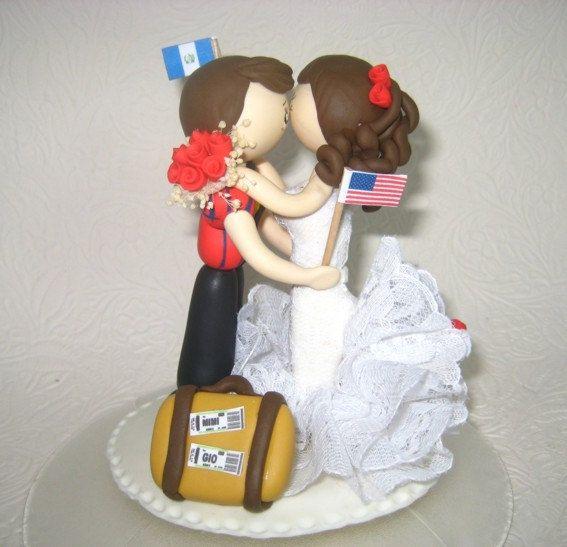 Traveler cake topper tourist cake topper custom by CuteToppers