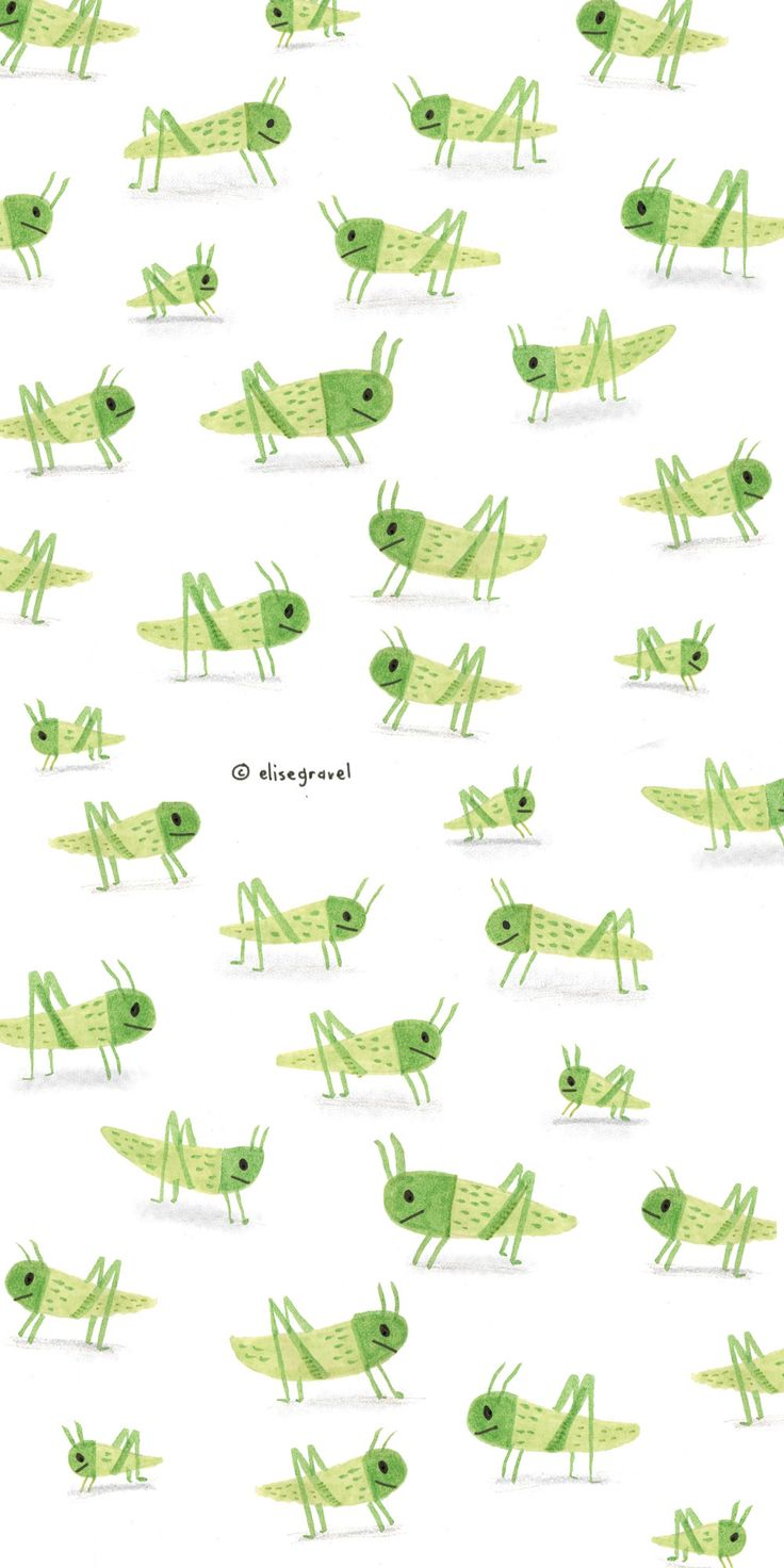 Elise Gravel illustration • Cute • crickets • green • image • bugs • happy • criquets • jumping • art • drawing • watercolor • for licensing please contact info@painted-words.com
